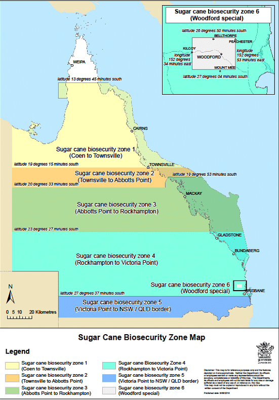 Sugar Cane Biosecurity Zone Map